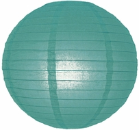 """8"""" Tahiti Teal Round Paper Lantern, Even Ribbing, Hanging (Light Not Included)"""