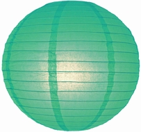 """8"""" Teal Green Round Paper Lantern, Even Ribbing, Hanging (Light Not Included)"""