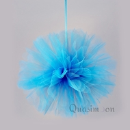 "10"" Turquoise Tulle Fabric Pom Poms Flowers Balls, Decorations (4 PACK)"