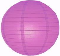 """8"""" Violet / Orchid Round Paper Lantern, Even Ribbing, Hanging (Light Not Included)"""