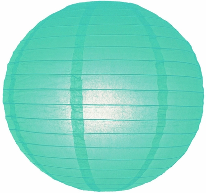 "24"" Water Blue Round Paper Lantern, Even Ribbing, Hanging (Light Not Included)"