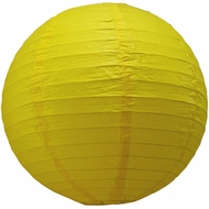 "12"" Yellow Round Paper Lantern, Even Ribbing, Hanging  (Light Not Included)"