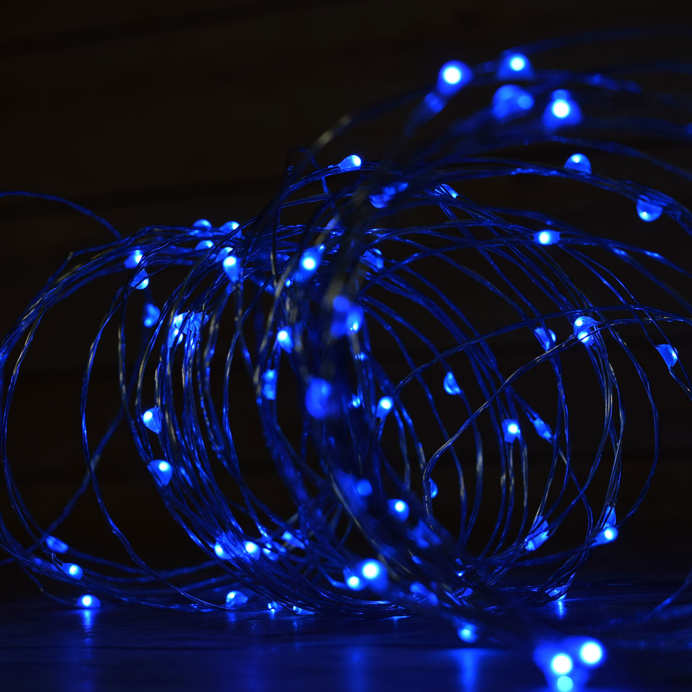 100 Blue Led Micro Fairy String Light Waterproof Wire