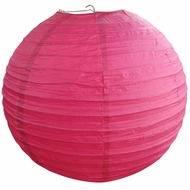 "12"" Fuchsia / Hot Pink Round Paper Lantern, Even Ribbing, Hanging  (Light Not Included)"