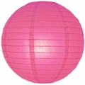 """12"""" Fuchsia/Hot Pink Round Paper Lantern, Even Ribbing, Hanging  (Light Not Included)"""