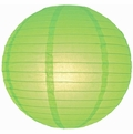 """12"""" Light Lime Green Round Paper Lantern, Even Ribbing, Hanging  (Light Not Included)"""
