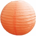 "12"" Peach / Orange Coral Round Paper Lantern, Even Ribbing, Hanging  (Light Not Included)"