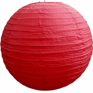 """12"""" Red Round Paper Lantern, Even Ribbing, Hanging  (Light Not Included)"""