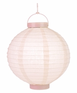 "12"" Rose Quartz Pink 16 LED Round Battery Operated Paper Lantern w/ Built-in Light-Up Switch"