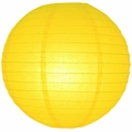 """12"""" Yellow Round Paper Lantern, Even Ribbing, Hanging (Light Not Included)"""