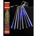 136 (8 Tubes) Blue LED Icicle Snowfall Rain Christmas Tube String Lights (12.5FT, Clear Cord)