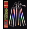 136 (8 Tubes) RGB LED Icicle Snowfall Rain Christmas Tube String Lights (12.5FT, Clear Cord)