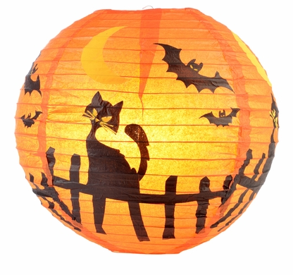 "14"" Black Cat Halloween Paper Lantern"