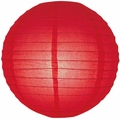 "14"" Red Round Paper Lantern, Even Ribbing, Hanging (Light Not Included)"