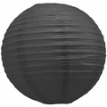 "16"" Black Round Paper Lantern, Even Ribbing, Hanging  (Light Not Included)"