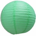 "16"" Cool Mint Green Round Paper Lantern, Even Ribbing, Hanging  (Light Not Included)"