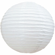 "16"" White Round Paper Lantern, Even Ribbing, Hanging  (Light Not Included)"