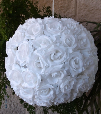 "16"" White Rose Flower Ball Lantern  (Discontinued)"