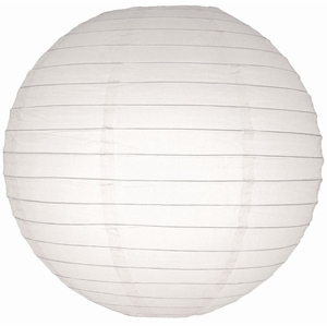 """18"""" White Round Paper Lantern, Even Ribbing, Hanging (Light Not Included)"""