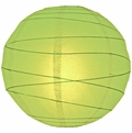 """20"""" Light Lime Green Round Paper Lantern, Irregular Ribbed, Hanging  (Light Not Included)"""