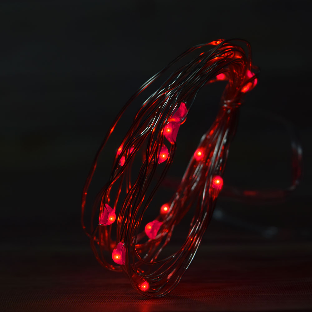 20 red led fairy wire waterproof string lights w timer. Black Bedroom Furniture Sets. Home Design Ideas