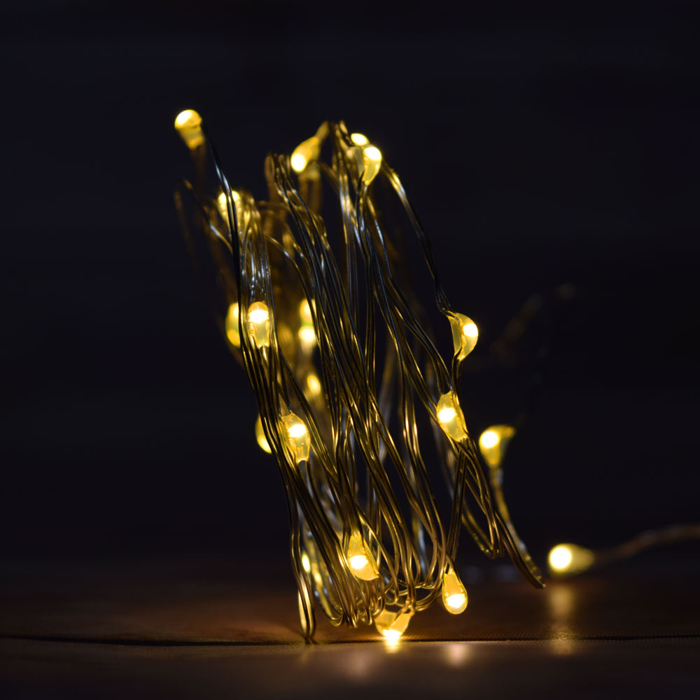 20 Warm White LED Fairy Wire Waterproof String Lights w ...