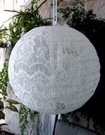"20"" White Round Lace Fabric Lantern, Even Ribbing, Hanging"