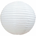"20"" White Round Paper Lantern, Even Ribbing, Hanging  (Light Not Included)"