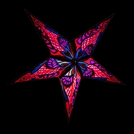 """24"""" Fuchsia / Hot Pink Blue Flame Paper Star Lantern, Hanging (Light Not Included)"""