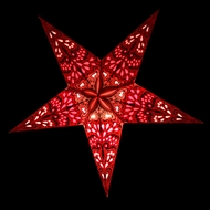 "24"" Red Pink Rain Paper Star Lantern, Hanging (Light Not Included)"