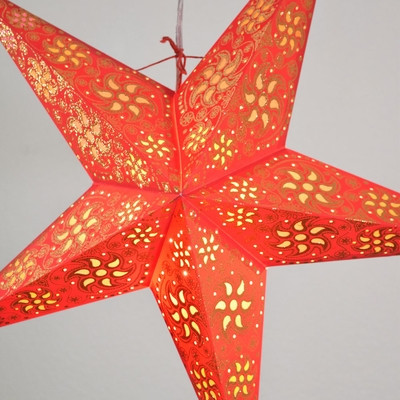 24 Quot Red Winds Gold Glitter Paper Star Lantern Hanging