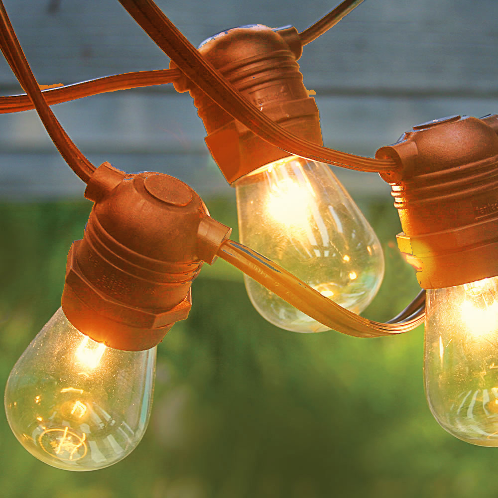 10 Socket Commercial Outdoor String Light Kit W S14 Bulbs: 24 Socket Outdoor String Light S14 Bulbs 54FT Brown Cord W