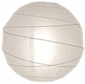 "24"" White Round Paper Lantern, Crisscross Ribbing, Hanging  (Light Not Included)"