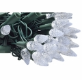 25 Cool White LED C9 Commercial Outdoor String Lights (16.6FT, Expandable, Green Cord)