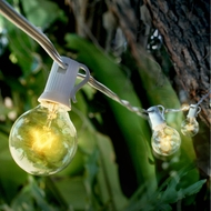 25 Socket Outdoor Patio String Light Set, G40 Clear Globe Bulbs, 28 FT White Cord w/ E12 C7 Base