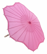 "32"" Fuchsia / Hot Pink Paper Parasol Umbrella, Scallop Shaped"