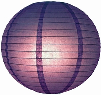 """8"""" Royal Purple Round Paper Lantern, Even Ribbing, Hanging (Light Not Included)"""