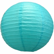 """12"""" Turquoise Round Paper Lantern, Even Ribbing, Hanging  (Light Not Included)"""