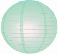"""8"""" Arctic Spa Blue Round Paper Lantern, Even Ribbing, Hanging (Light Not Included)"""