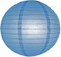 """8"""" Astra Blue Round Paper Lantern, Even Ribbing, Hanging (Light Not Included)"""