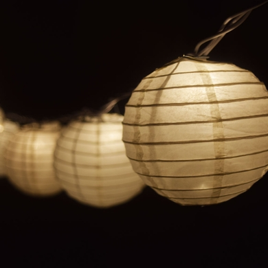 "10 Socket Beige Round Paper Lantern Party String Lights (4"" Lanterns)"