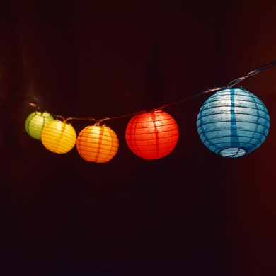 10 Socket Multi Color Round Paper Lantern Party String