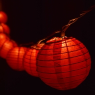"10 Socket Red Round Paper Lantern Party String Lights (4"" Lanterns)"