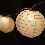 "10 Socket White Round Paper Lantern Party String Lights (4"" Lanterns)"