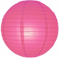 """8"""" Fuchsia / Hot Pink Round Paper Lantern, Even Ribbing, Hanging (Light Not Included)"""