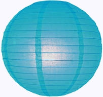 """8"""" Turquoise Round Paper Lantern, Even Ribbing, Hanging (Light Not Included)"""