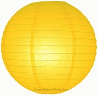 """8"""" Yellow Round Paper Lantern, Even Ribbing, Hanging (Light Not Included)"""
