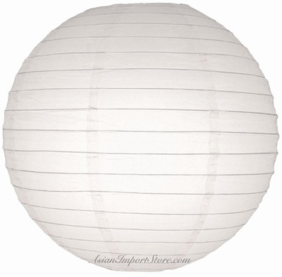 "18"" White Round Paper Lantern, Even Ribbing, Hanging (Light Not Included)"