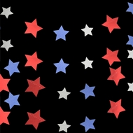 4th of July Red, Silver and Blue Glitter Paper Star Garland Banner (11FT)
