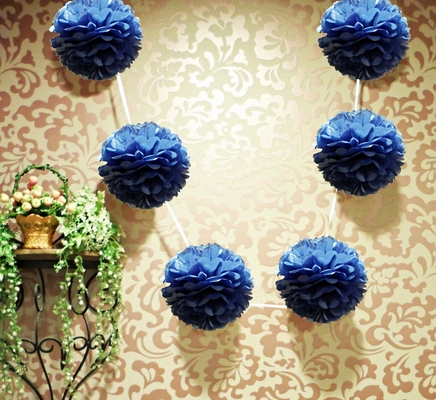Ez Fluff 6 Quot Navy Blue Hanging Tissue Paper Flower Pom Pom Party Garland Decoration Fluffy Wall Backdrop Decorations On Sale Now Pom Pom Flowers